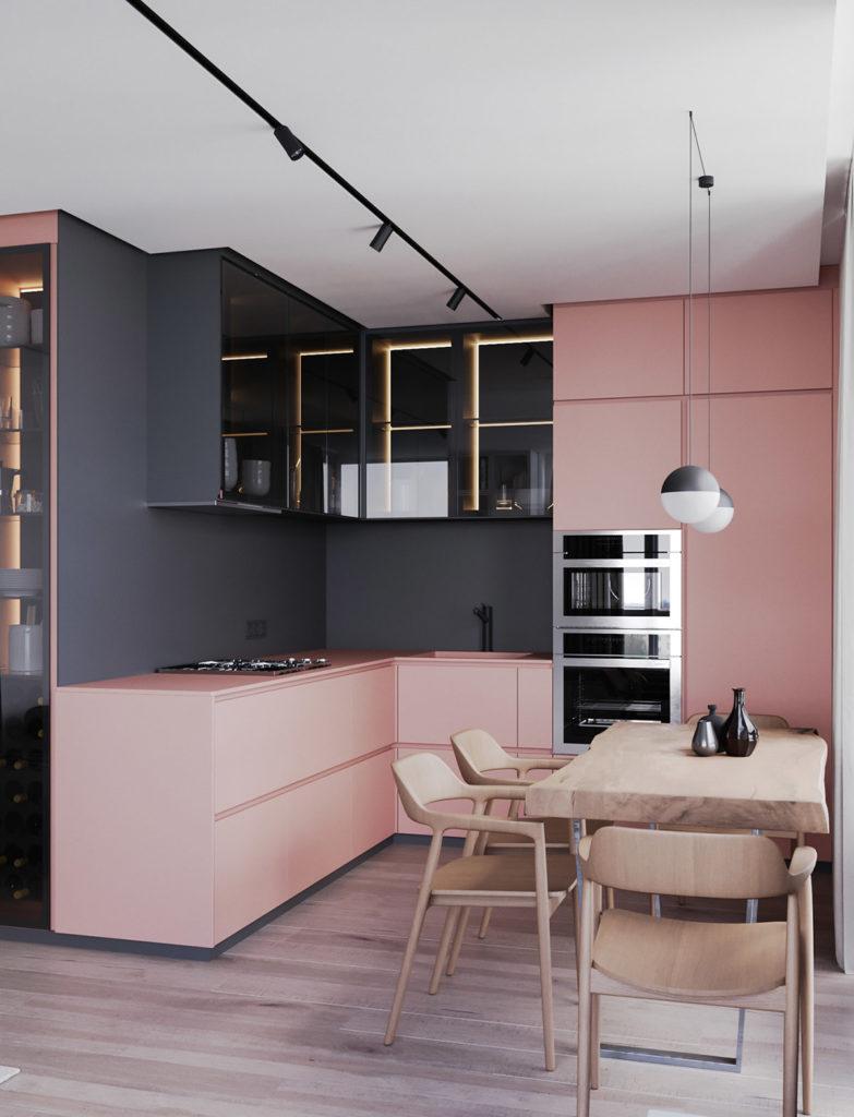 cozinha planejada com marcenaria rosa